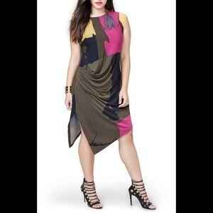 RACHEL Rachel Roy Asymmetrical Draped Dress 2X